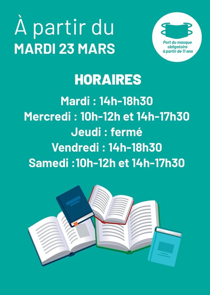 horaires d'ouverture à partir de mars 2021